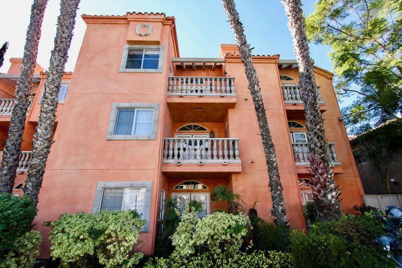 In Front at the Entrance of the apartment in Trevi Villa has tall trees and plants