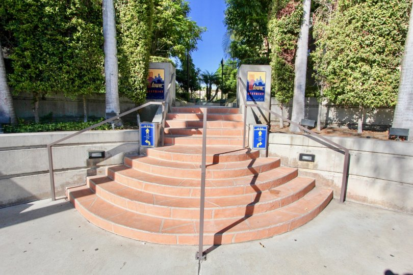 Sunny Day with Nice approach to park with stairs surrounded with trees in Uptown District of Hillcrest