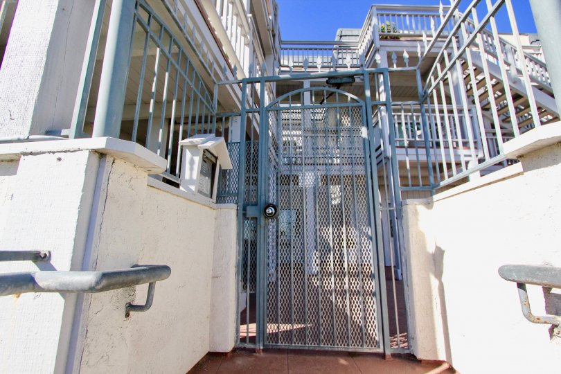 Security gate between two residential units at Cortez in Imperial Beach California