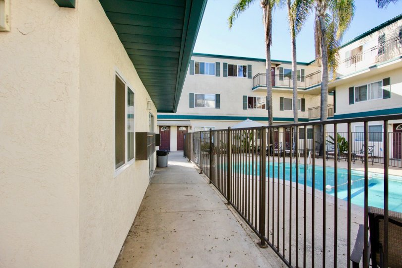 Community buildings with pool at Dolphin Bay in Imperial Beach CA