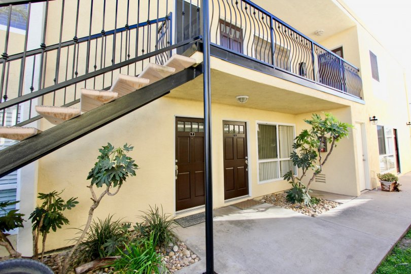 Two story housing with attached stairway at Ebony Estates in Imperial Beach California
