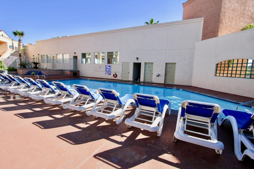 A sunny day in Imperial Beach Club with swimming pool and chairs to take rest and relax