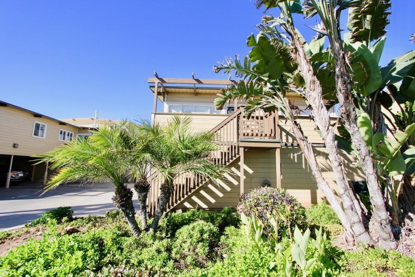 Two story housing with attached stairway at La Boca Rio in Imperial Beach California