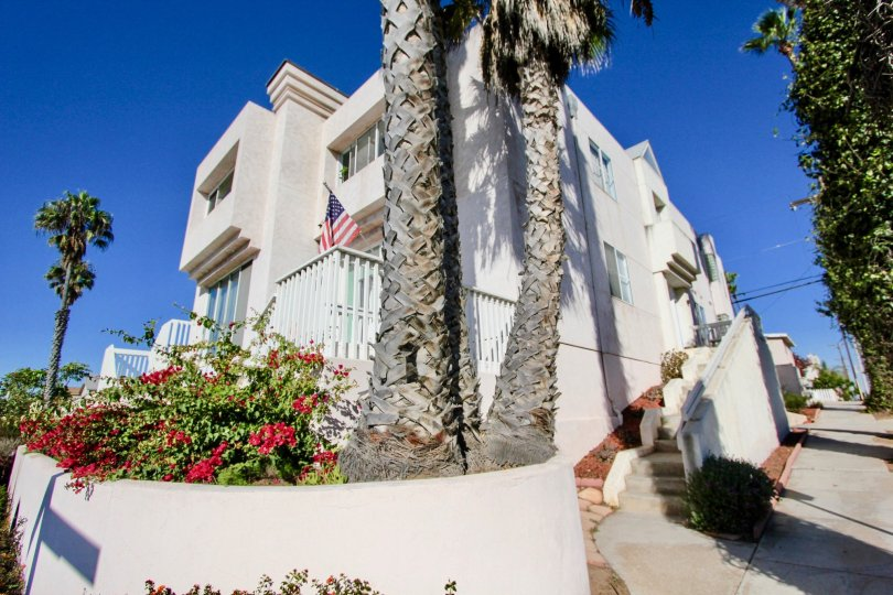 Three story housing with attached stairway at Las Mareas in Imperial Beach California