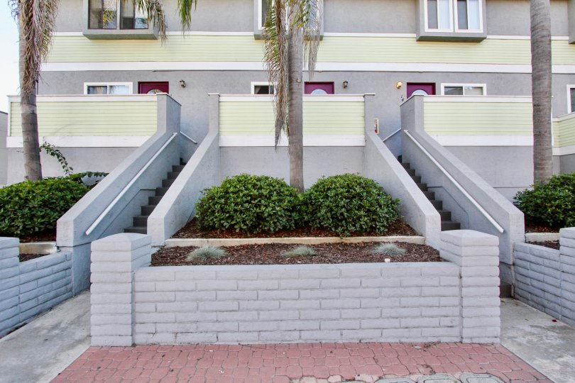 Stairways to residential units at Palm Plaza in Imperial California