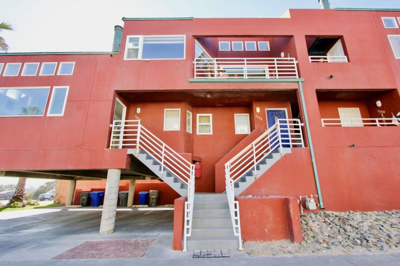 Three story building with stairway at Sandcastle Cove in Imperial Beach CA