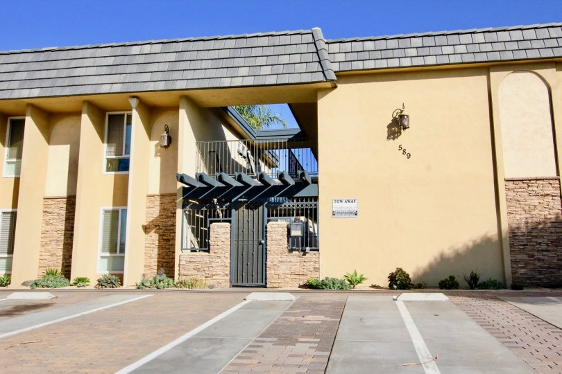 Security gate in front of residential complex at Sands Pointe in Imperial Beach California