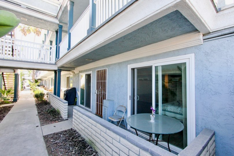 Patio and residential unit at Sea Village in Imperial Beach California