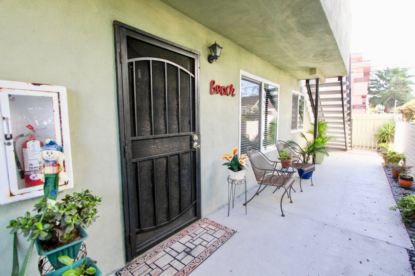 Black security door of a residence at Seabreeze Condominiums in Imperial Beach California