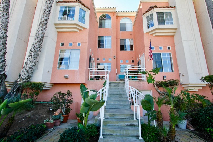 Three story housing with stairway at Seaside Villas in Imperial Beach California