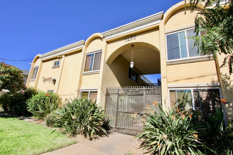 A sunny day at the front gate of the Tapestry community in Imperial Beach, California.