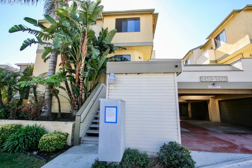 Housing with underground parking and stairways at Tradewinds in Imperial Beach California
