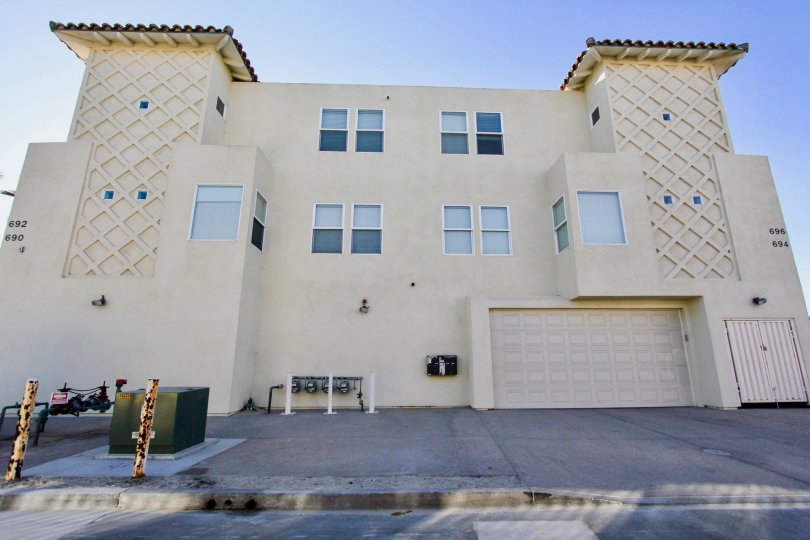 A two-storey apartment block with ground-level garage in the Wavecrest community of Imperial Beach, CA