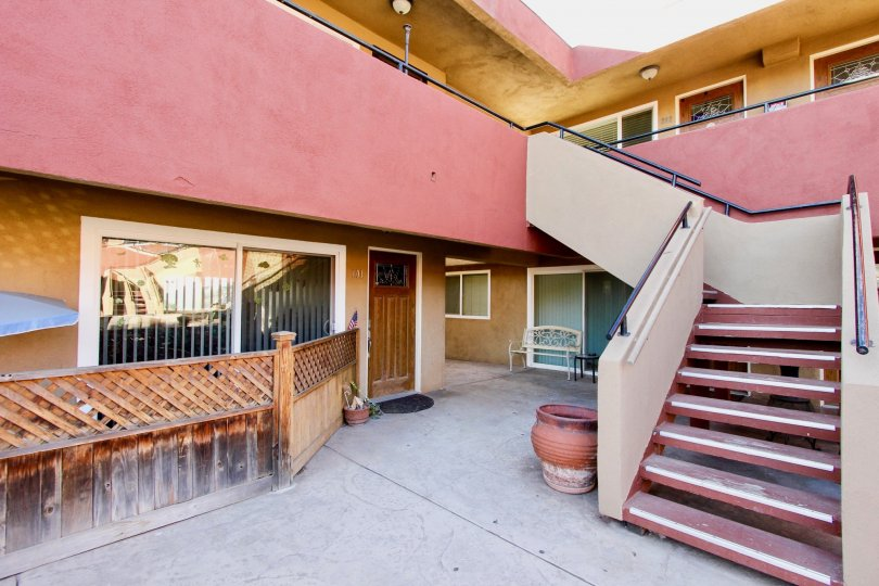 Apartments with attached stairway at Willow Bay in Imperial Beach CA