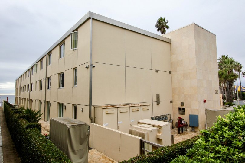 Three story housing & windows inside 202 Coast at La Jolla California
