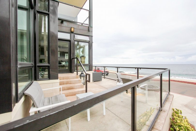 Residential balcony over looking the ocean inside Altair in La Jolla CA