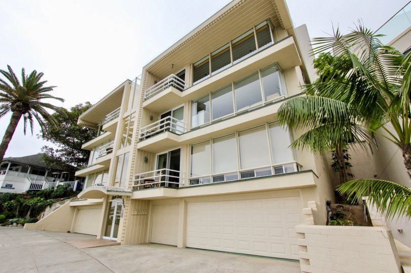 Four story residential units with built in garages inside Cove Towers in La Jolla CA