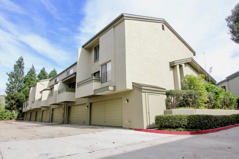 Three story housing with white garages at Eastbluff in La Jolla CA
