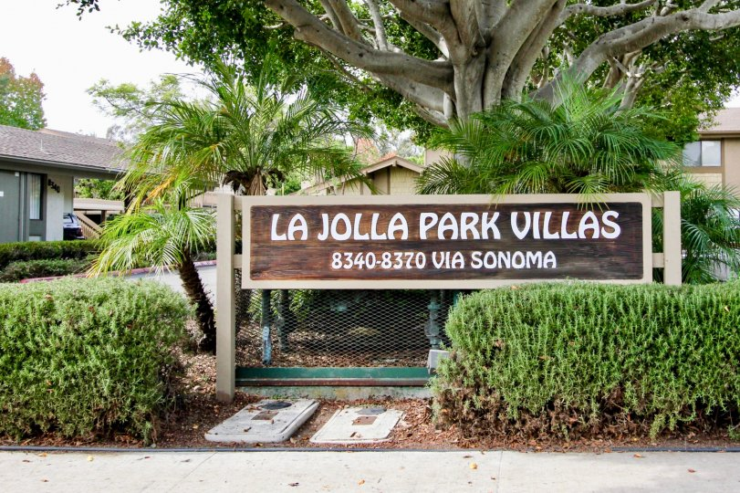 Generic community sign at La Jolla Park Villas in La Jolla CA