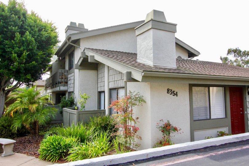 Gray units with fireplaces inside La Jolla Park Villas in La Jolla CA