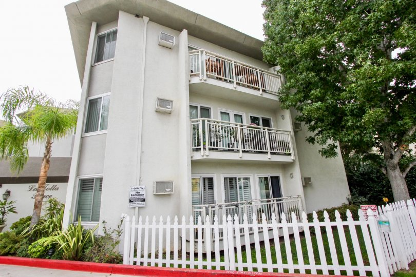 A three level residence all with balconies in La Jolla Place community.