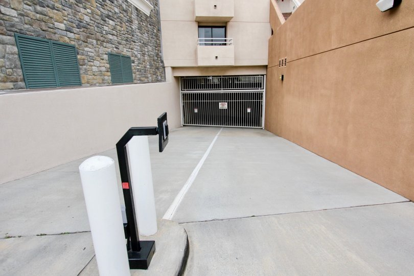 Security pad leading to an underground parking area at La Jolla Promenade in La Jolla CA