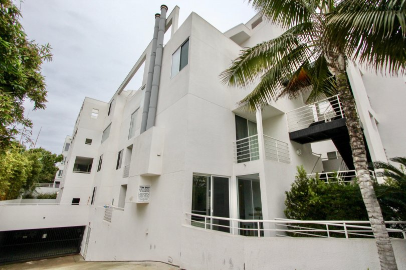 White condo units with underground parking garage in Lighthaus at La Jolla CA