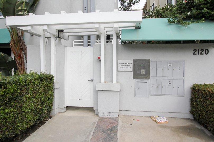 Mail boxes near entrance inside of LJ Windigo in La Jolla CA