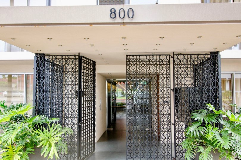 The black iron, gated entryway at a middle class apartment complex in the community of Park Prospect, located in La Jolla, California
