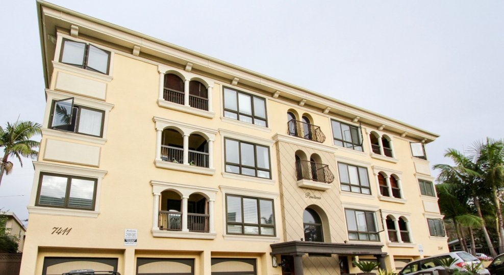 Outdoor three story condos with parking underneath at Positano in Lajolla, California