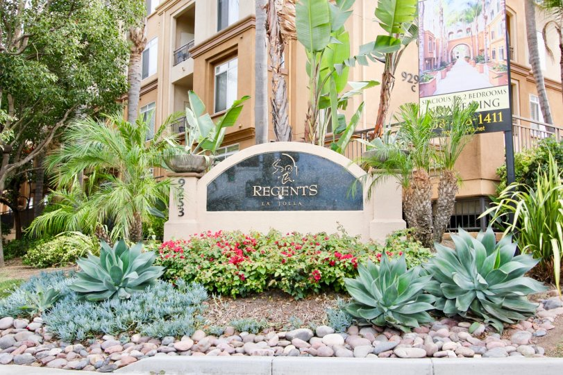 Regents La Jolla Sign and Landscaping in front of Tan Building La Jolla California