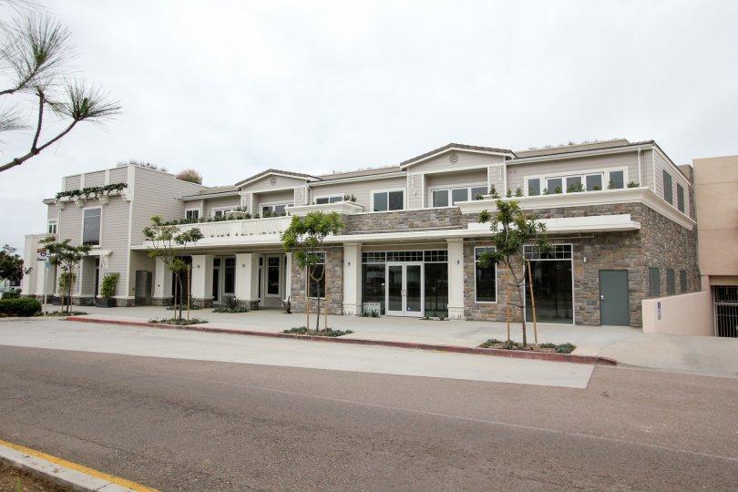 Gray stone Condominium compound inside Rosemont Condos in La Jolla CA