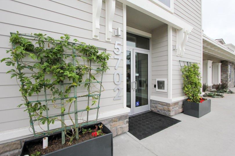 Minimal modern landscape and wheelchair accessible entrance to Rosemont Condos, La Jolla, California