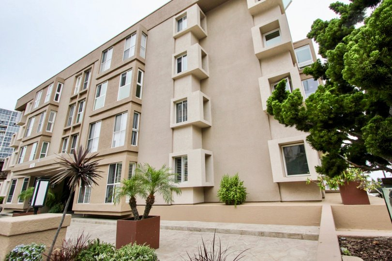 THE APARTMENT IN THE SHOREPOINT WITH THE WINDOWS, TREES, PLANTS, PATHWAY