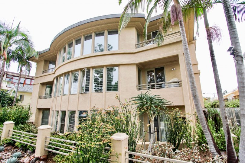 Three story housing with many windows in Village Walk in La Jolla CA