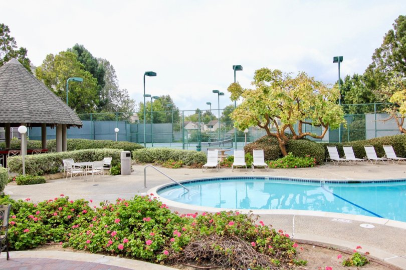 The pool area with tennis court in the Woodlands West ll community of La Jolla, California.