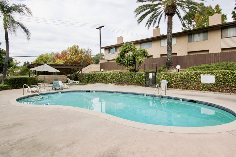 A sunny day in Grossmont Village house with beautiful garden and swimming pool