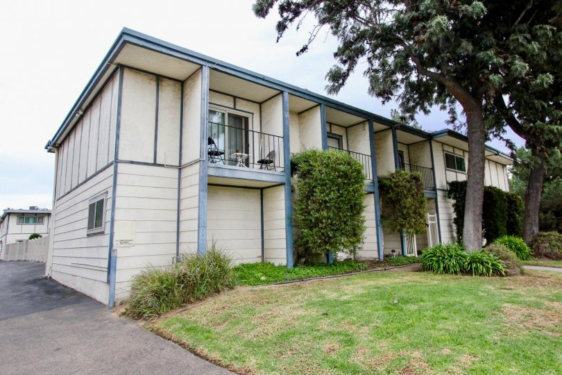 Helix Townhomes La Mesa California apartments with green garden and trees