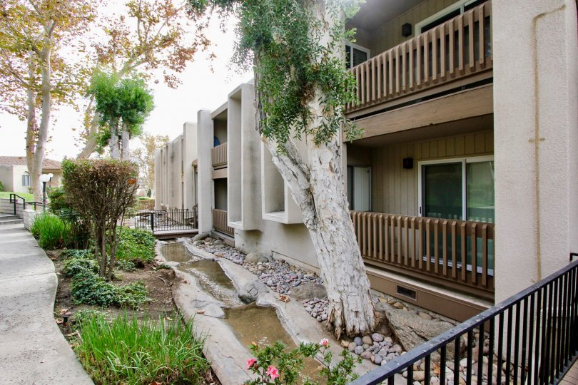 House with balcony and trees around having garden in La Mirianda of La Mesa
