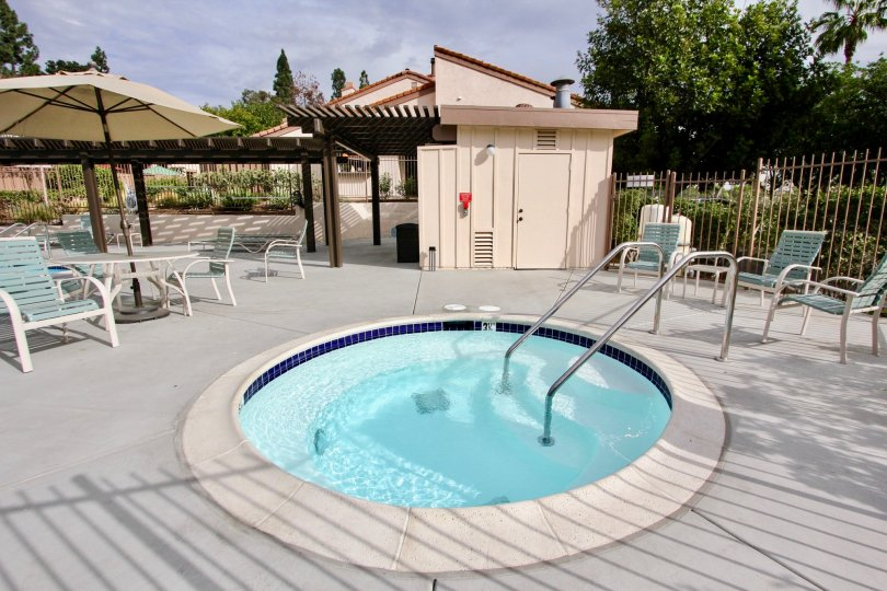 A nice view of the community hot tub at The Woodlands in La Mesa California
