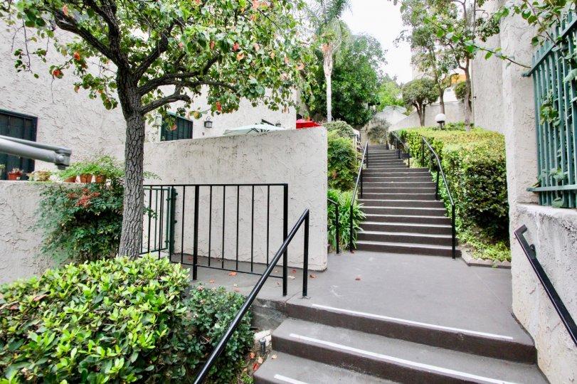 A entrance with exterior stairway in the Villa De Fanta community.
