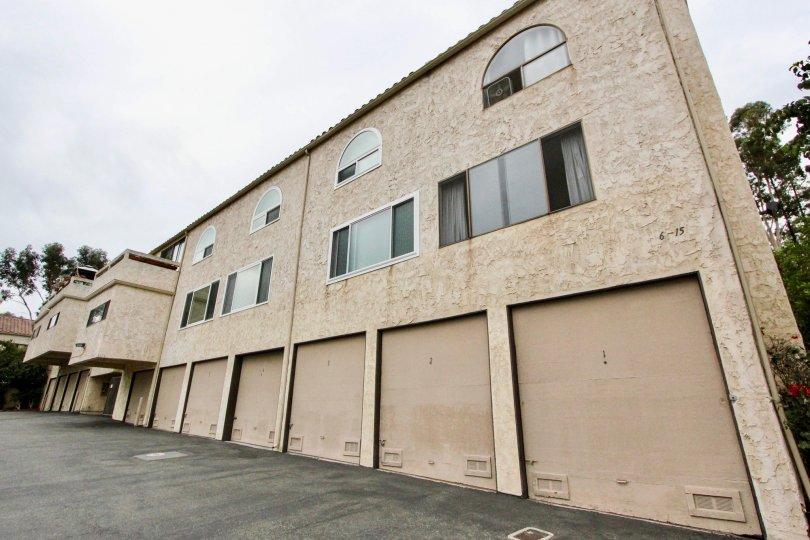 Eleven garages underneath condominiums at Villa De Fanta in La Mesa CA