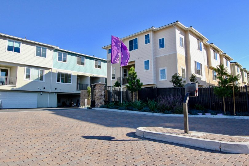 Sunny day open driving way in Aura Community, Mira Mesa, CA