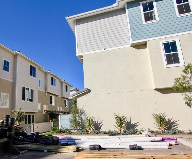 Landscape improvement outside the stylish residences at Aura in Mira Mesa, California