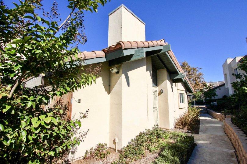 Sunny day walkway in Black Mountain Villas community, Mira Mesa, CA