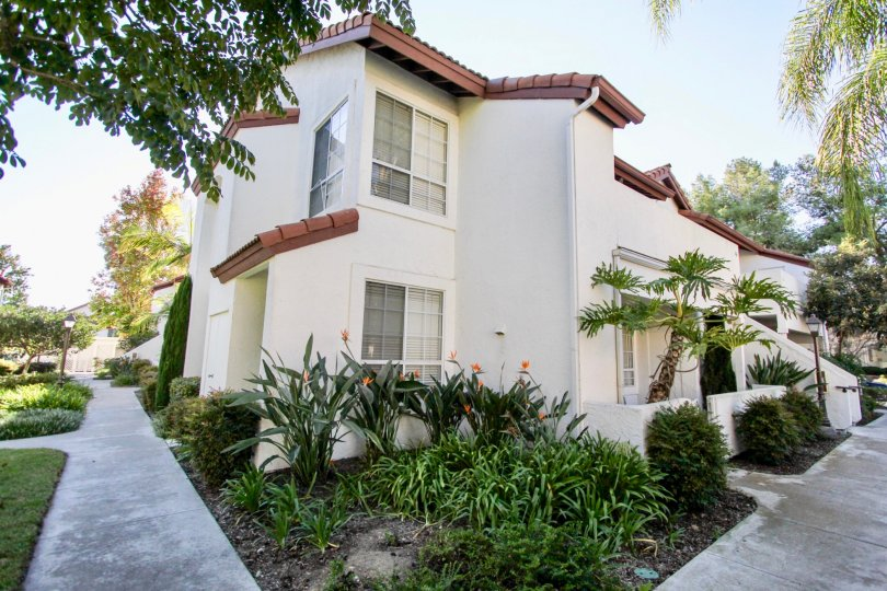 Two story residential building with walkway at Canyon Bluffs in Mira Mesa California