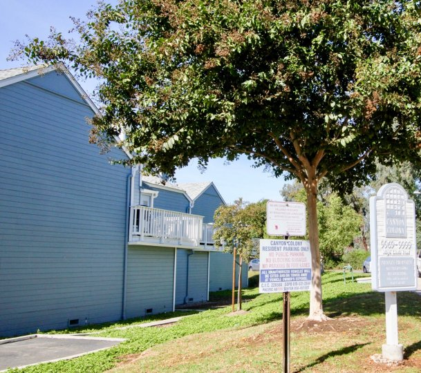 A sunny day with green trees outside the house of Canyon Colony in Mira Mesa city