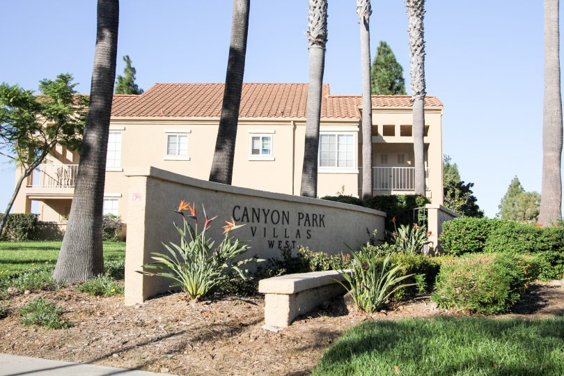 Enrtrance Signage to Canyon Park Villas, Mira Mesa, California