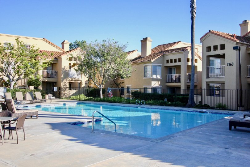 Canyon Park Villas , Mira Mesa  ,California, swimming pool,, trees