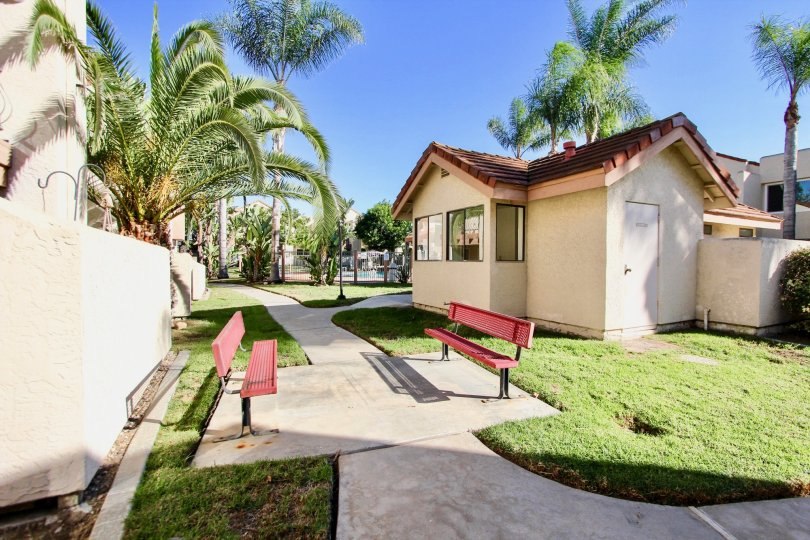 Walkway with chairs and trees in Casa New Salem, Mira Mesa, CA